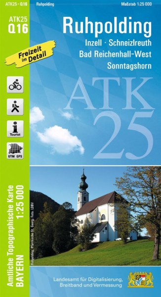 ATK25 Q16 Ruhpolding, 1:25.000 amtliche topographische Karte mit Wander- und Radwegen, Bayern