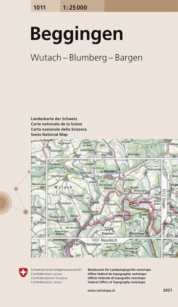1011 Beggingen topographische Wanderkarte Schweiz 1:25.000