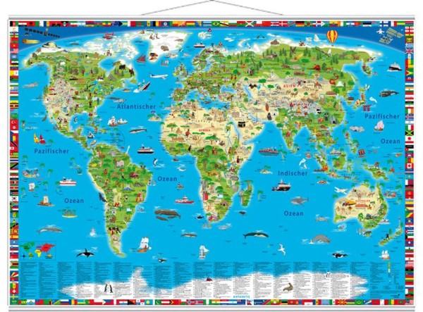 Illustrierte Kinder Weltkarte physisch mit Metallleisten, 138cm x 98cm, GeoCenter