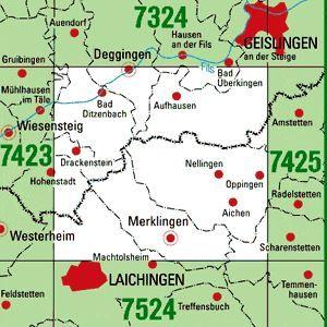 7424 DEGGINGEN topographische Karte 1:25.000 Baden-Württemberg, TK25