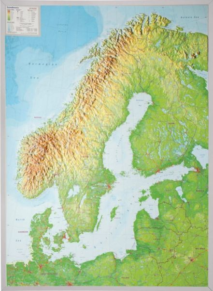 Skandinavien Relief, groß, mit Alu-Rahmen – 77 cm x 57 cm