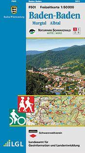 Baden-Baden Freizeitkarte in 1:50.000 – F501 mit Rad- und Wanderwegen