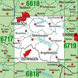 6718 WIESLOCH topographische Karte 1:25.000 Baden-Württemberg, TK25