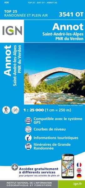 IGN 3541 OT Annot, St-Andre-les-Alpes, Frankreich Wanderkarte 1:25.000