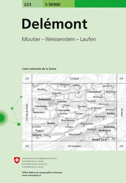 223 Delemont topographische Wanderkarte Schweiz 1:50.000