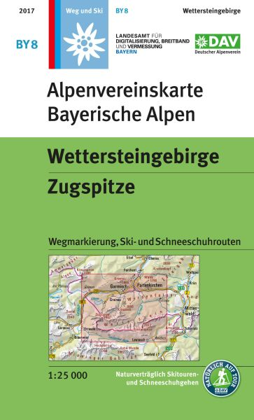 Alpenvereinskarte BY8 Wettersteingebirge - Zugspitze Wanderkarte 1:25.000