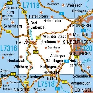 L7318 Calw topographische Karte 1:50.000 Baden-Württemberg, TK50