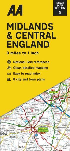 AA Straßenkarte Blatt 5, Midlands & Central England 1:200.000