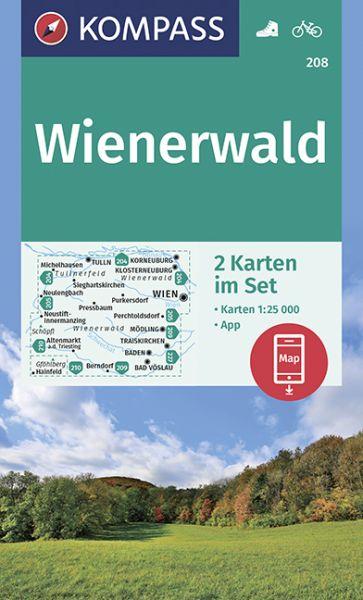 Kompass Karten Set 208, Wienerwald 1:25.000, Wandern, Rad fahren