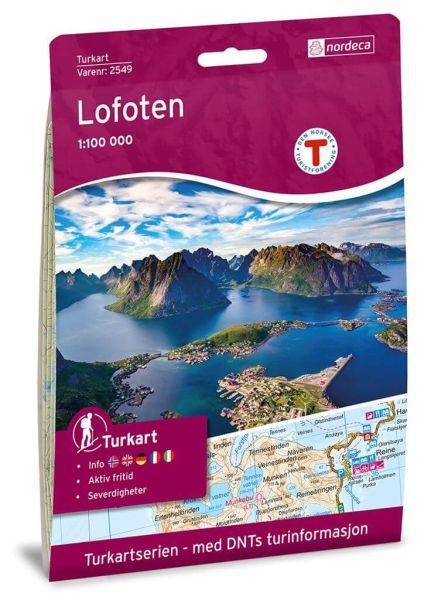 Lofoten Wanderkarte 1:100.000 – Norwegen, Turkart 2549 von Nordeca