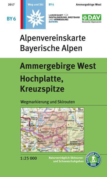 Alpenvereinskarte BY6 Ammergebirge West Wanderkarte 1:25.000