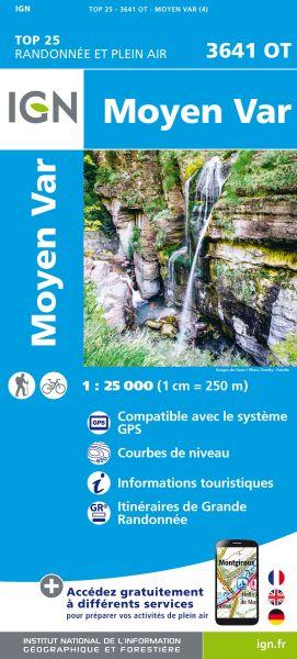 IGN 3641 OT Moyen Var, Frankreich topographische Wanderkarte 1:25.000