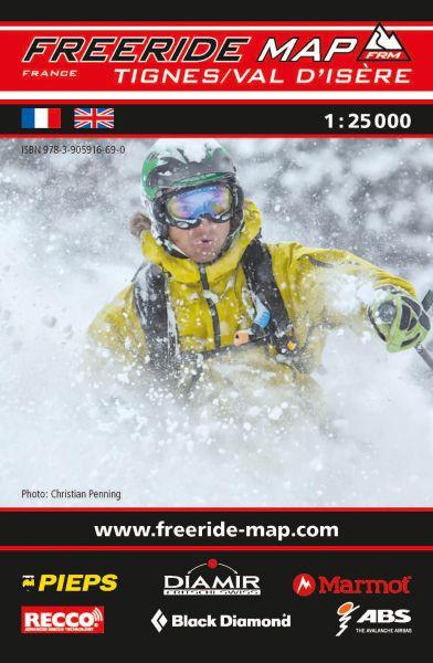 Freeride Map Tignes / Val d'Isère, Skitourenkarte 1:25.000