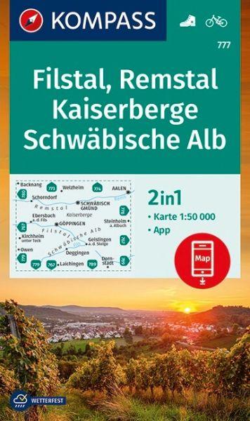 Kompass Karte 777, Filstal, Remstal, Kaiserberge 1:50.000, Wandern