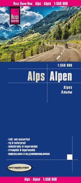 Alpen Straßenkarte 1:550.000 - Reise Know-How