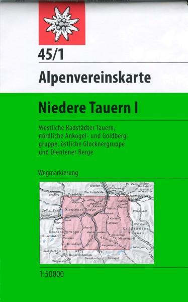 DAV Alpenvereinskarte 45/1 Niedere Tauern I, Wanderkarte 1:50.000