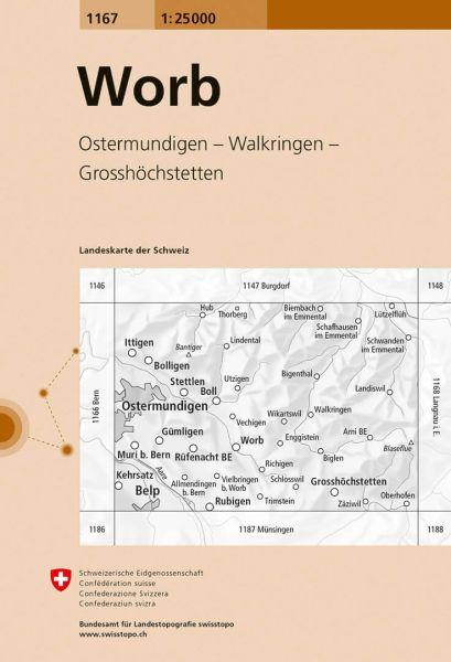 1167 Worb topographische Wanderkarte Schweiz 1:25.000