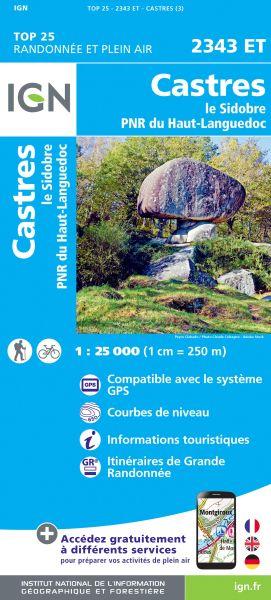 IGN 2343 ET Castres, Le Sidobre, Frankreich Wanderkarte 1:25.000