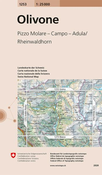 1253 Olivone topographische Wanderkarte Schweiz 1:25.000