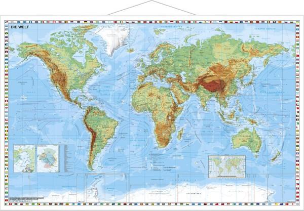 Weltkarte physisch Poster mit Metallleisten vom Stiefel Verlag 95x62 cm