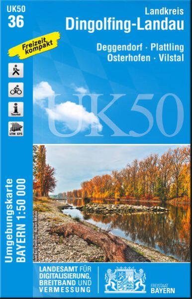 UK50-36 Landkreis Dingolfing-Landau Rad- und Wanderkarte 1:50.000 - Umgebungskarte Bayern