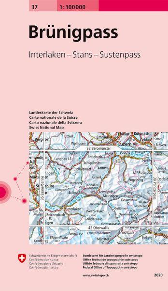 37 Brünigpass topographische Karte Schweiz 1:100.000