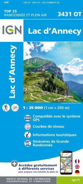 IGN 3431 OT Lac d'Annecy, Frankreich topographische Wanderkarte 1:25.000