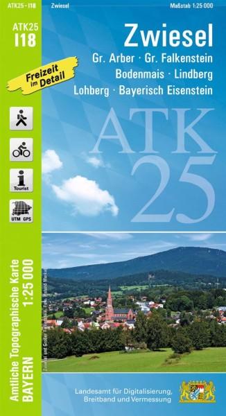 ATK I18 Zwiesel, 1:25.000 amtliche topographische Karte mit Wander- und Radwegen, Bayern