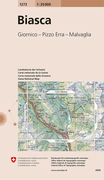 1273 Biasca topographische Wanderkarte Schweiz 1:25.000