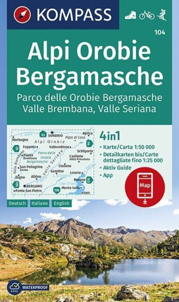 Kompass Karte 104, Alpi Orobie, Bergamasche 1:50.000, Wandern, Rad fahren