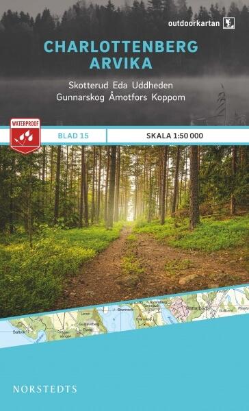 Charlottenberg - Arvika, Outdoorkartan Blatt 15, Schweden Wanderkarte 1:50.000