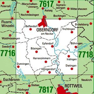 7717 OBERNDORF A.N. topographische Karte 1:25.000 Baden-Württemberg, TK25