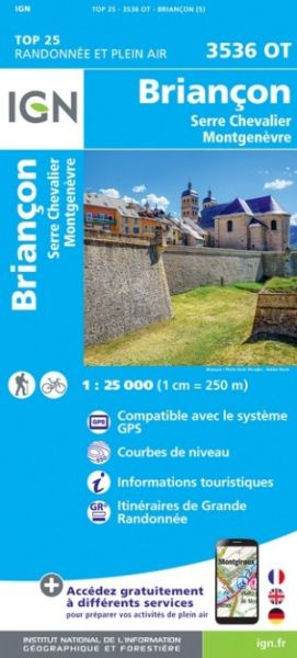 IGN 3536 OT Briancon, Serre-Chevalier, Frankreich Wanderkarte 1:25.000