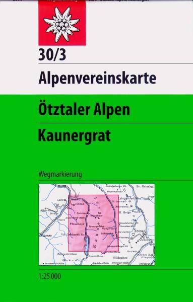 DAV Alpenvereinskarte 30/3 Ötztaler Alpen, Kaunergrat, Wanderkarte 1:25.000