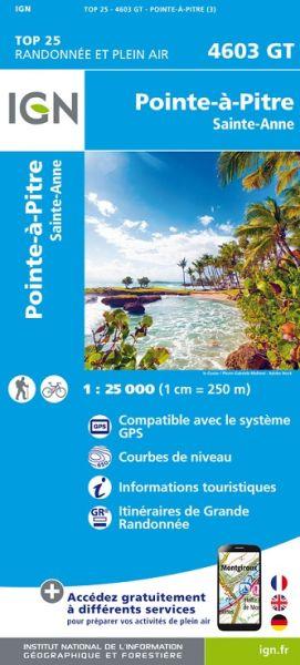 IGN 4603 GT Pointe-à-Pitre / Ste-Anne, Guadeloupe Wanderkarte 1:25.000