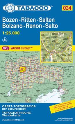 Tabacco 034 Bolzano - Renon / Bozen - Ritten Wanderkarte 1:25.000