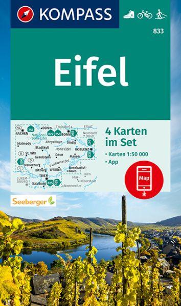 Kompass Karten-Set 833 Eifel 1:50.000, Wandern, Rad fahren