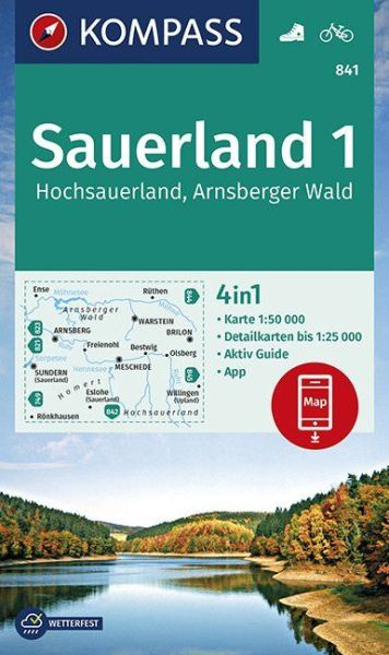 Kompass Karte 841 Sauerland 1, 1:50.000, Wandern, radfahren