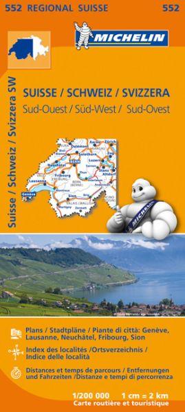 Michelin 552 Schweiz Süd-West Straßenkarte 1:200.000