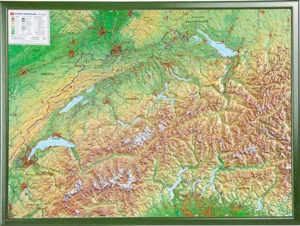 Schweiz Relief groß mit Holzrahmen – 77 cm x 57 cm