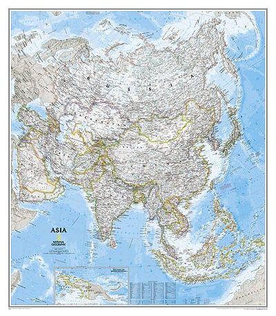 NGS Poster Asien Landkarte politisch Standardformat 96 cm x 86 cm