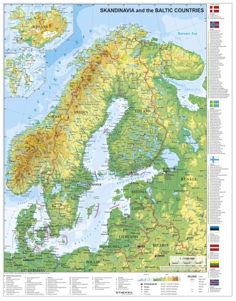 Skandinavien physisch Poster mit Metallleisten vom Stiefel Verlag 67x86 cm