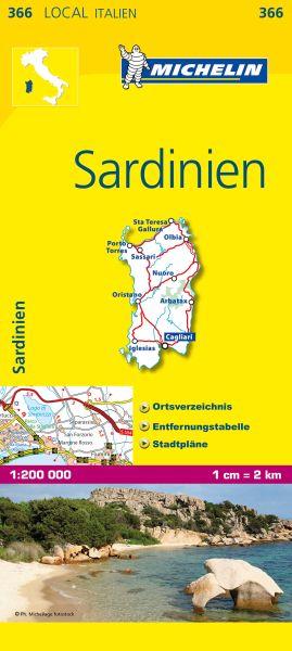 Michelin 366 Sardinien Straßenkarte 1:200.000