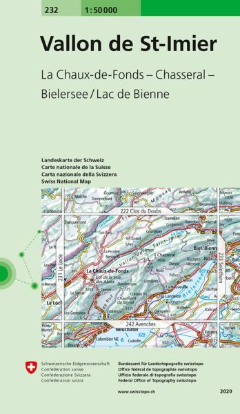 232 Vallon de St-Imier topographische Wanderkarte Schweiz 1:50.000