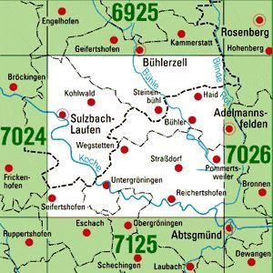 7025 SULZBACH-LAUFEN topographische Karte 1:25.000 Baden-Württemberg, TK25