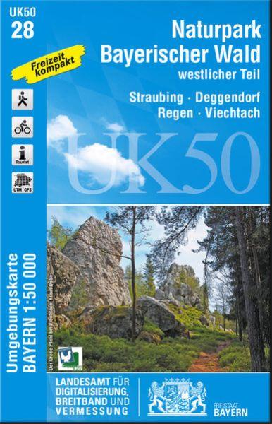 UK50-28 NP Bayerischer Wald West Rad- und Wanderkarte 1:50.000 - Umgebungskarte Bayern