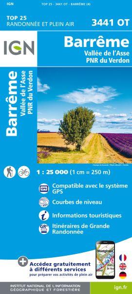 IGN 3441 OT Barreme, Vallee de l'Asse, Frankreich Wanderkarte 1:25.000
