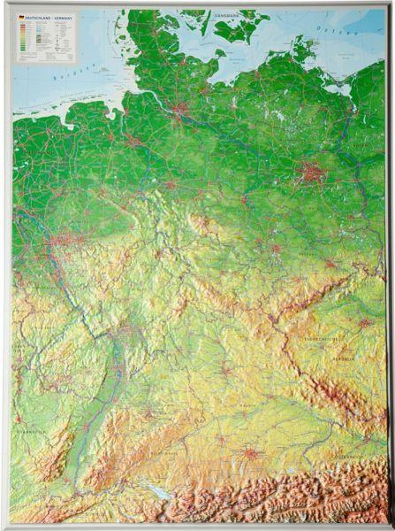 Deutschland Relief groß ohne Rahmen – 77 cm x 57 cm