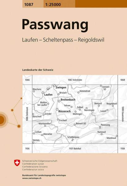 1087 Passwang topographische Wanderkarte Schweiz 1:25.000