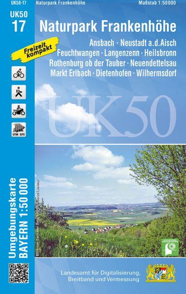 UK50-17 Naturpark Frankenhöhe Rad- und Wanderkarte 1:50.000 - Umgebungskarte Bayern